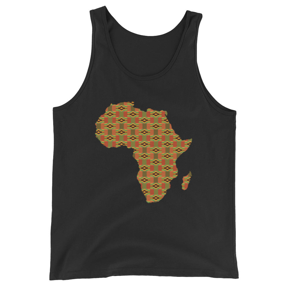 African Map Kente Print Unisex  Tank Top