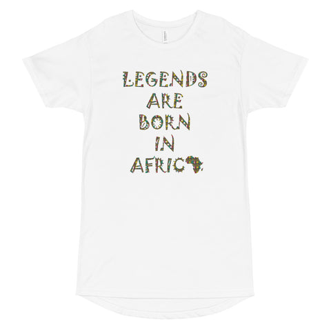 Legends Are Born in Africa Zulu Print Long Body Urban Tee