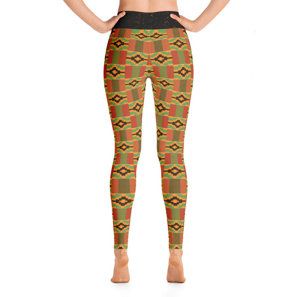 Kente & Spray paint waist Yoga Leggings