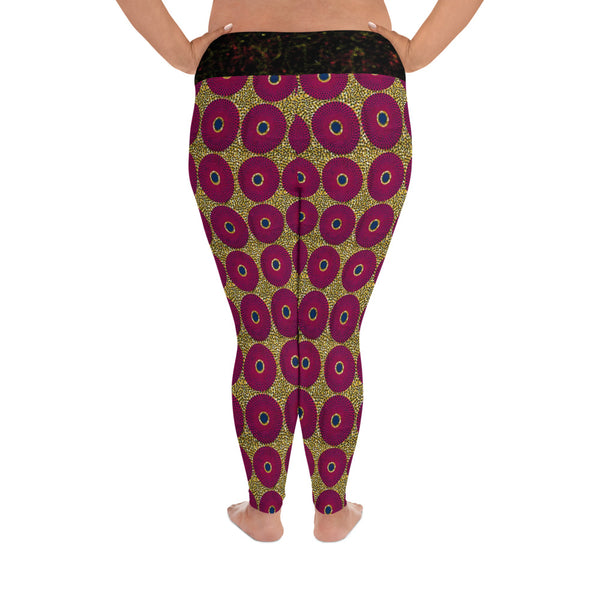 Ankara Circles Plus Size Yoga Leggings
