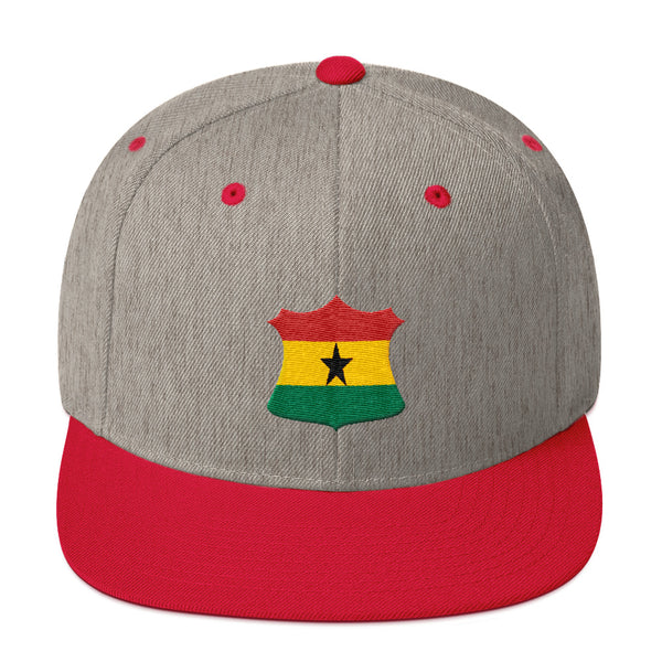 Ghana Flag Crest Badge Snapback Hat