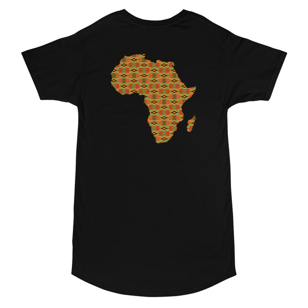 Legends Are Born in Africa Kente Print Long Body Urban Tee