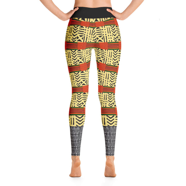 Kente and Mud Cloth Fusion Yoga Leggings