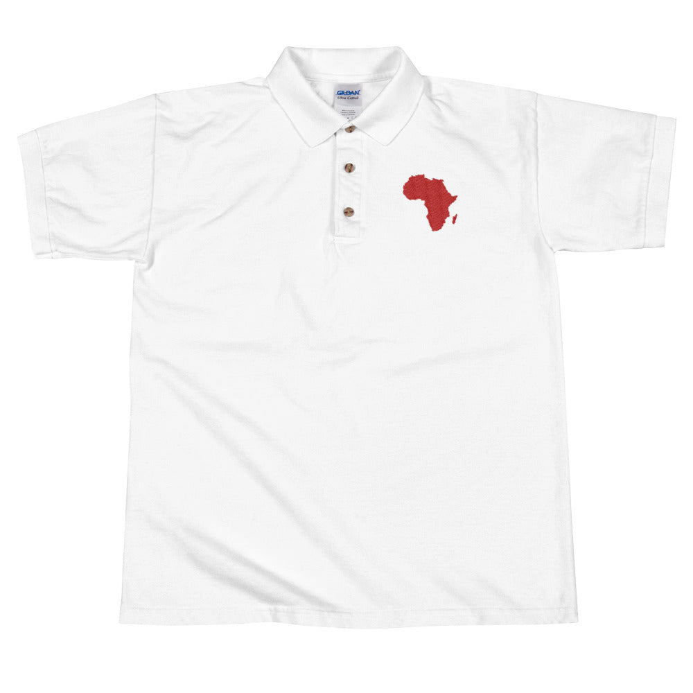African Map Embroidered Polo Shirt