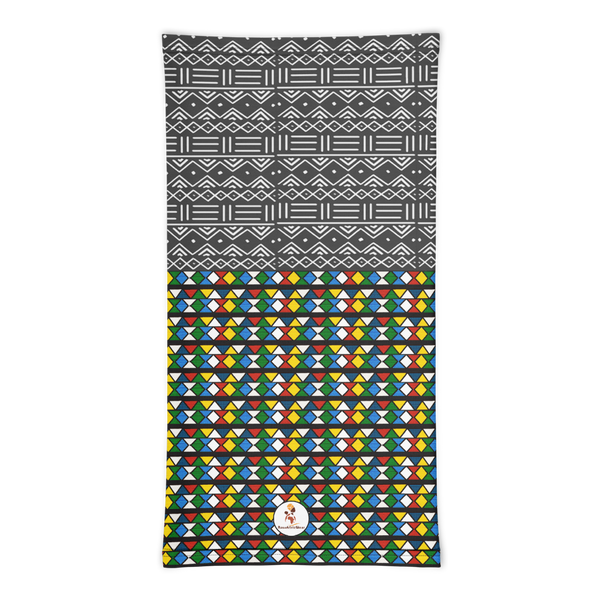 Zulu Beads & Mud Cloth Print Neck gaiter
