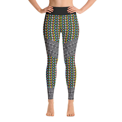 Zulu & Mud Cloth Fusion Yoga Leggings