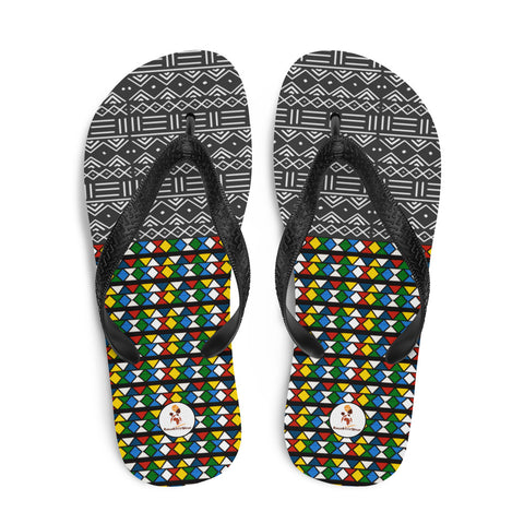 Mud Cloth & Zulu Beads Print Flip-Flops