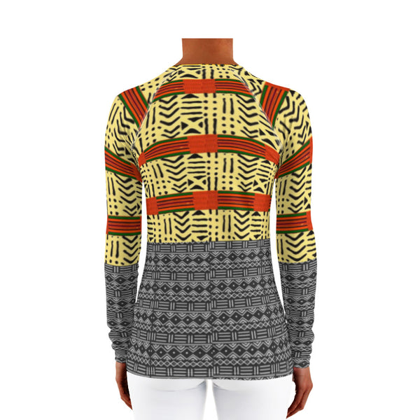 Kente & Mud Cloth Fusion Women's Rash Guard