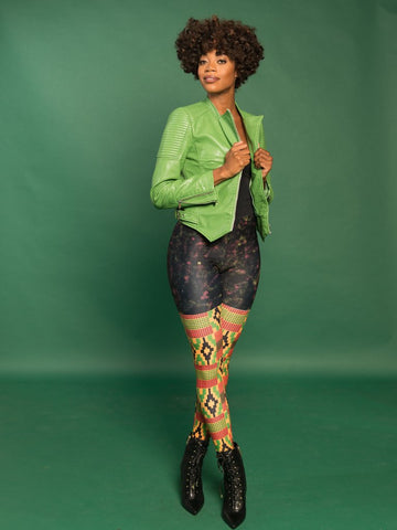 RuvaAfricWear Kente Print Plus Size Leggings