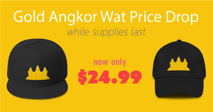 Gold Angkor Wat Hats Snapbacks Caps Price Drop Now Only $24.99