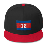 Wool Blend Snapback Khmer/Cambodian Flag and 12