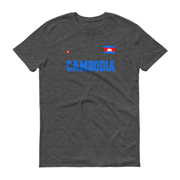 Lightweight Fashion T-Shirt Cambodian/Khmer Flag and Blue CAMBODIA