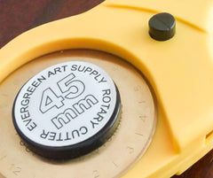 Safety button on Rotary Cutter - Evergreen Art Supply Essential Quilting Tools