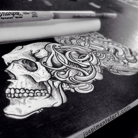 Joe Pimentel Skull Drawing