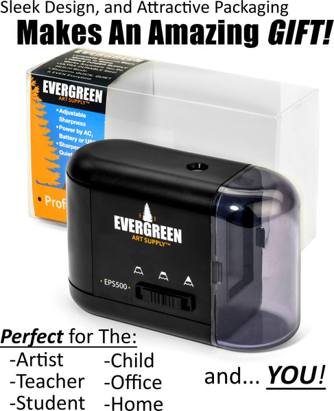 Evergreen Art Supply Electric Pencil Sharpener, Adjustable Sharpness, Black