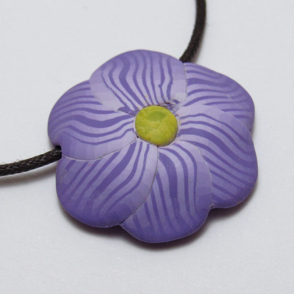 Handmade polymer clay purple flower pendant