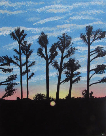 Sunrise Pine Tree Silhouette Painting