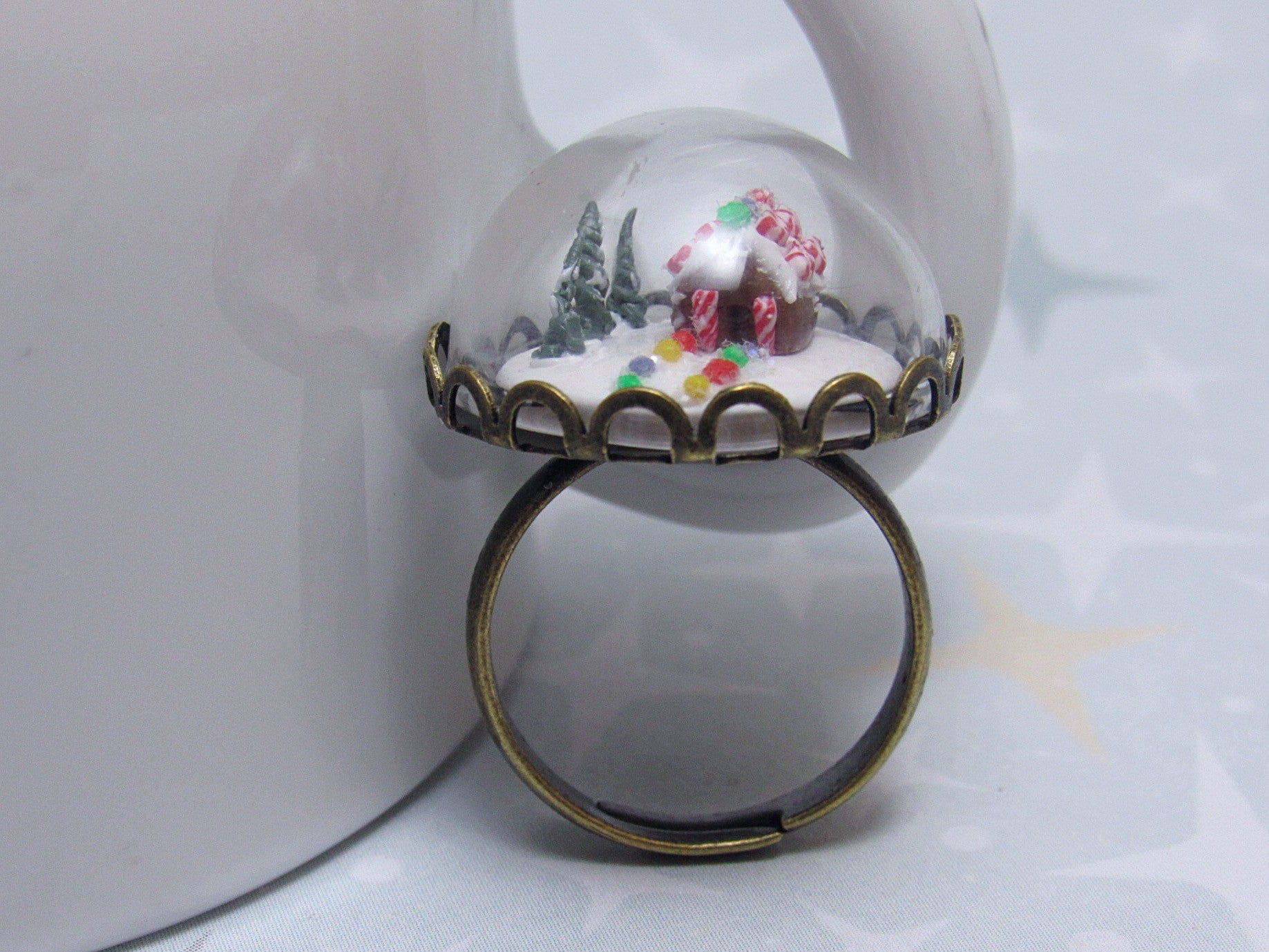 Gingerbread House Cocktail Ring