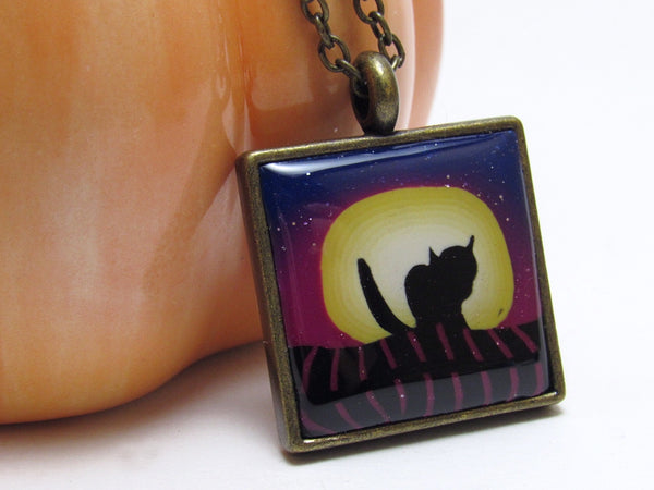Cat & Moon Scene Earrings