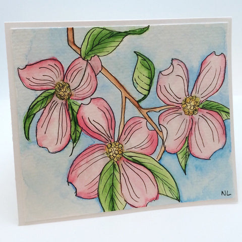 Pink Dogwood Watercolor Greeting Card