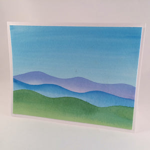 Blue Mountain Watercolor Greeting Card