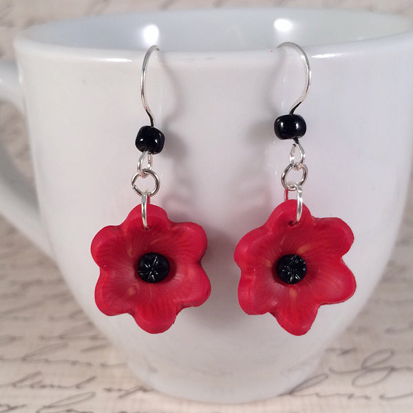 Bright Red Poppy Dangle Earrings