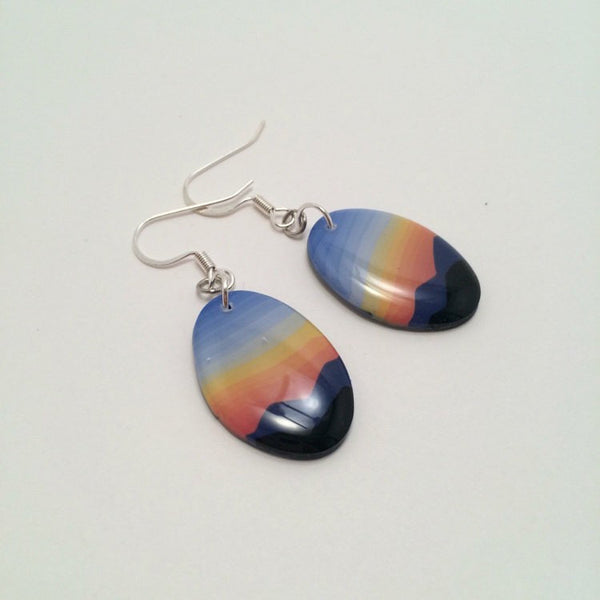 Blue Mountain Sunset Dangle Earrings