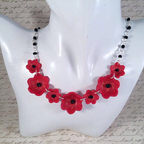Bright Red Poppy Statement Necklace