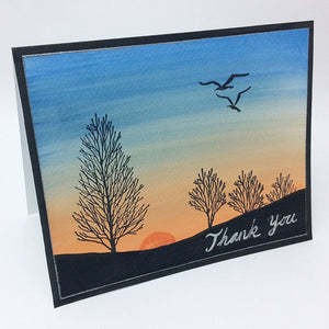 Tree Sunset Watercolor Greeting Card