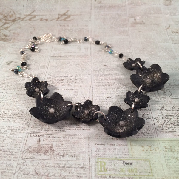 Starry Night Flower Statement Necklace