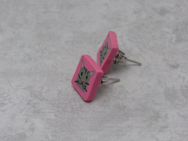 Gray Pink Cat Stud Earrings