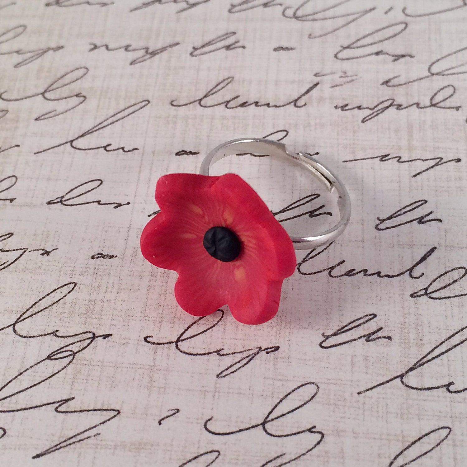 Bright Red Poppy Cocktail Ring