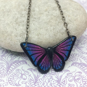 Galaxy Butterfly Pendant Necklace
