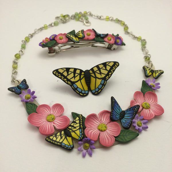 Flower Butterfly Barrette