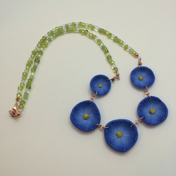 Blue Morning Glory Statement Necklace