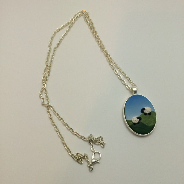 Black White Sheep Pendant Necklace