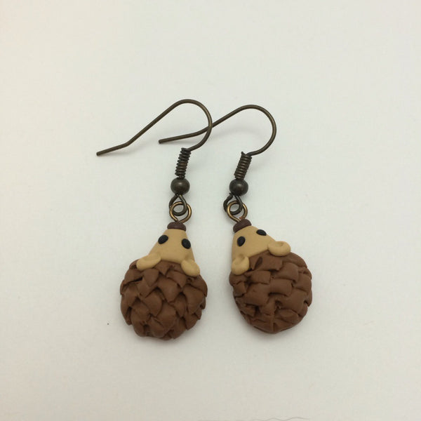 Brown Hedgehog Dangle Earrings