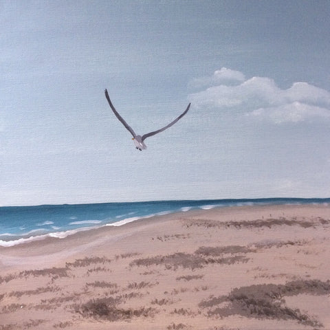 Flying Seagull Original Beach Painting