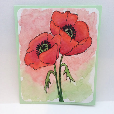 Red Poppy Watercolor Greeting Card