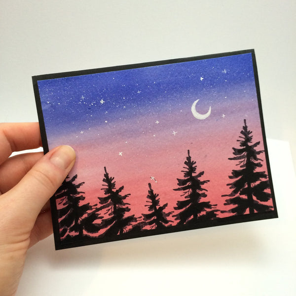 Blue Pink Tree Silhouette Greeting Card