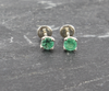 Sterling Silver Emerald Studs Earrings - Round - J10025