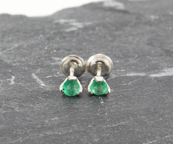 Emerald Studs Earrings - Sterling Silver  - Round - J10024