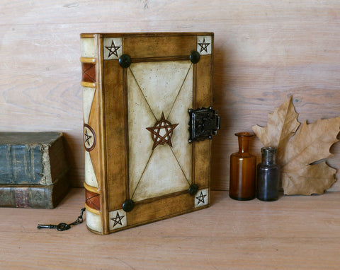 The symbolism of a magic journal, grimoire or book of spells