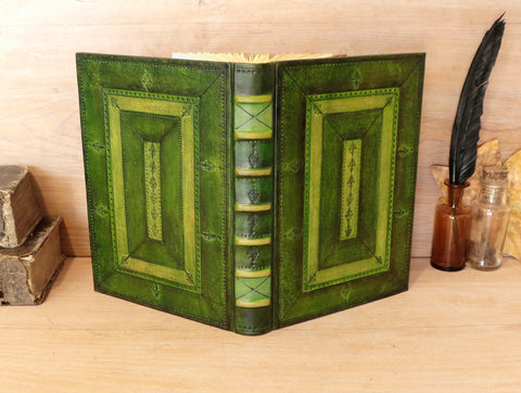 Green leather bookbinding