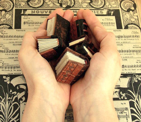 miniature leather books and journals