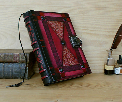 red purple leather journal