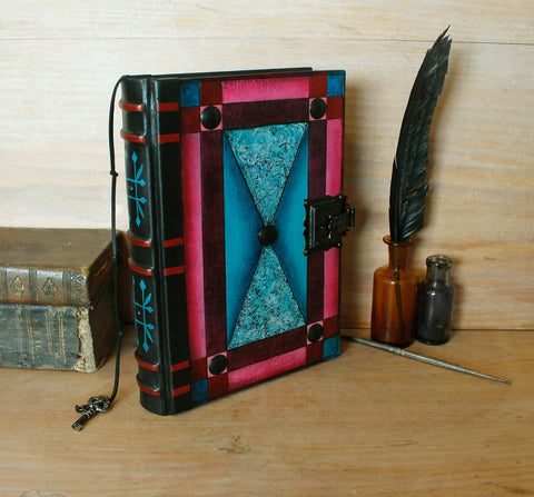 blue red leather journal