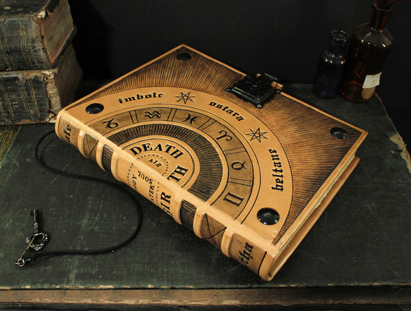 Leather Journal / Magic Book with Lock and Key - Wheel of the Year