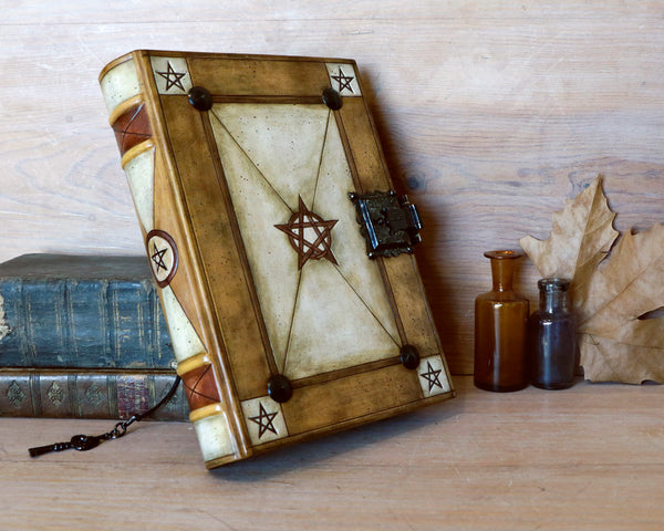 Alchemic leather journal with Lock and key, handmade magic grimoire - Ouroboros