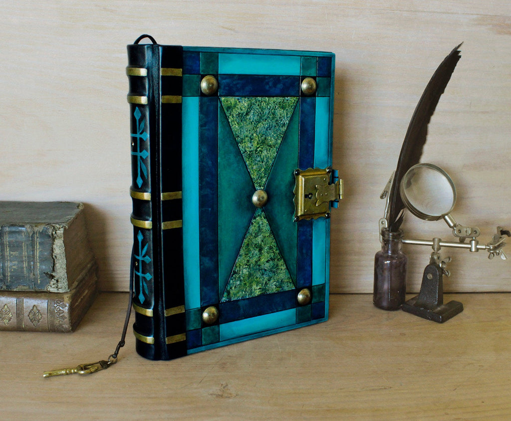 """The Turquoise"" - Leather Journal with Lock and Key, Blue and Green Leather"